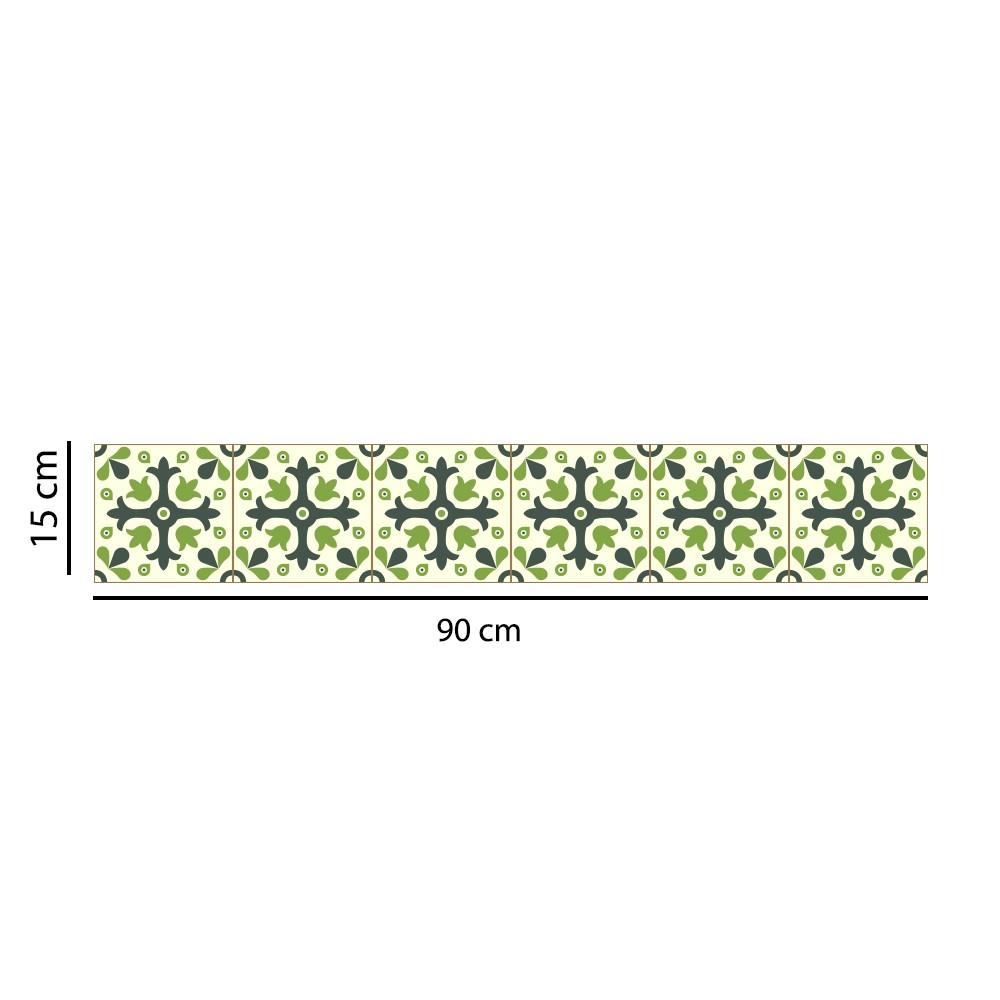 Faixa Border Adesivo Azulejos Verdes