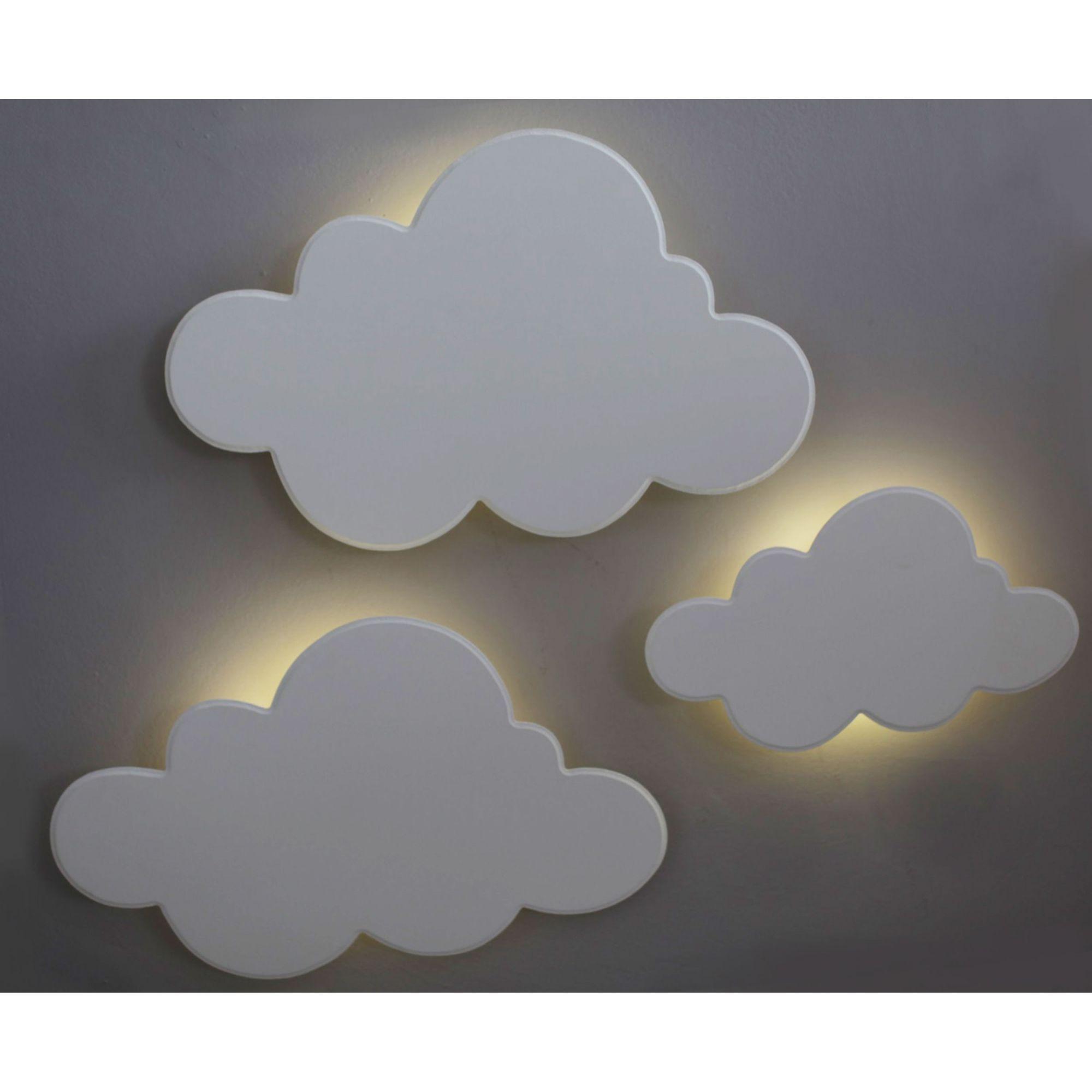 Kit 3 Luminárias Nuvem Branco com Luz de LED Quarto Bebê