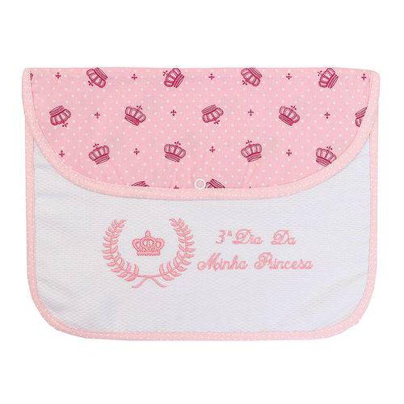 Kit 3 Peças Envelope Organizador Maternidade para 3 Dias Minha Princesa Rosa e Branco