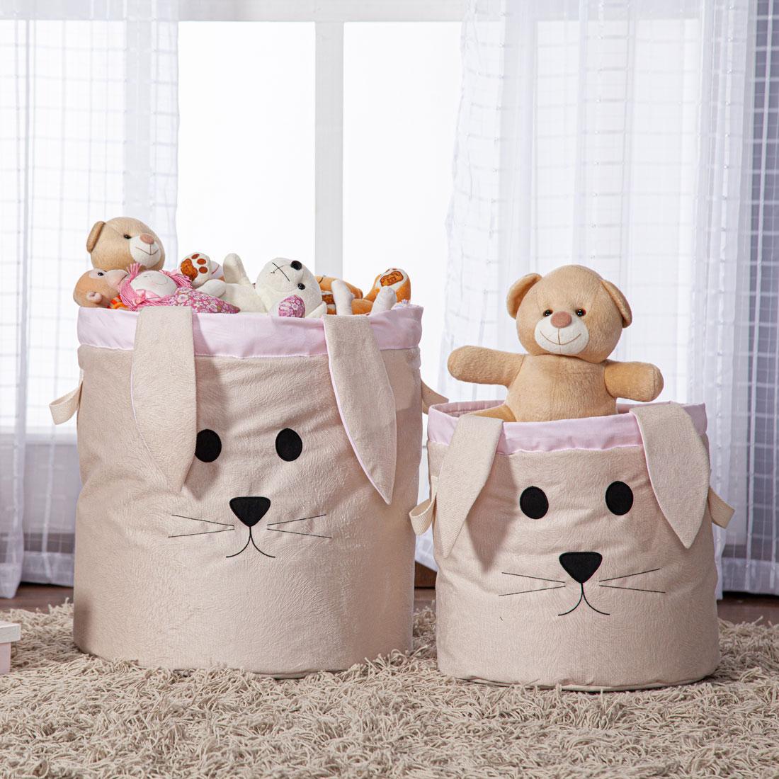 Kit Cesto Organizador de Brinquedos e Roupas Sujas Dobrável Infantil