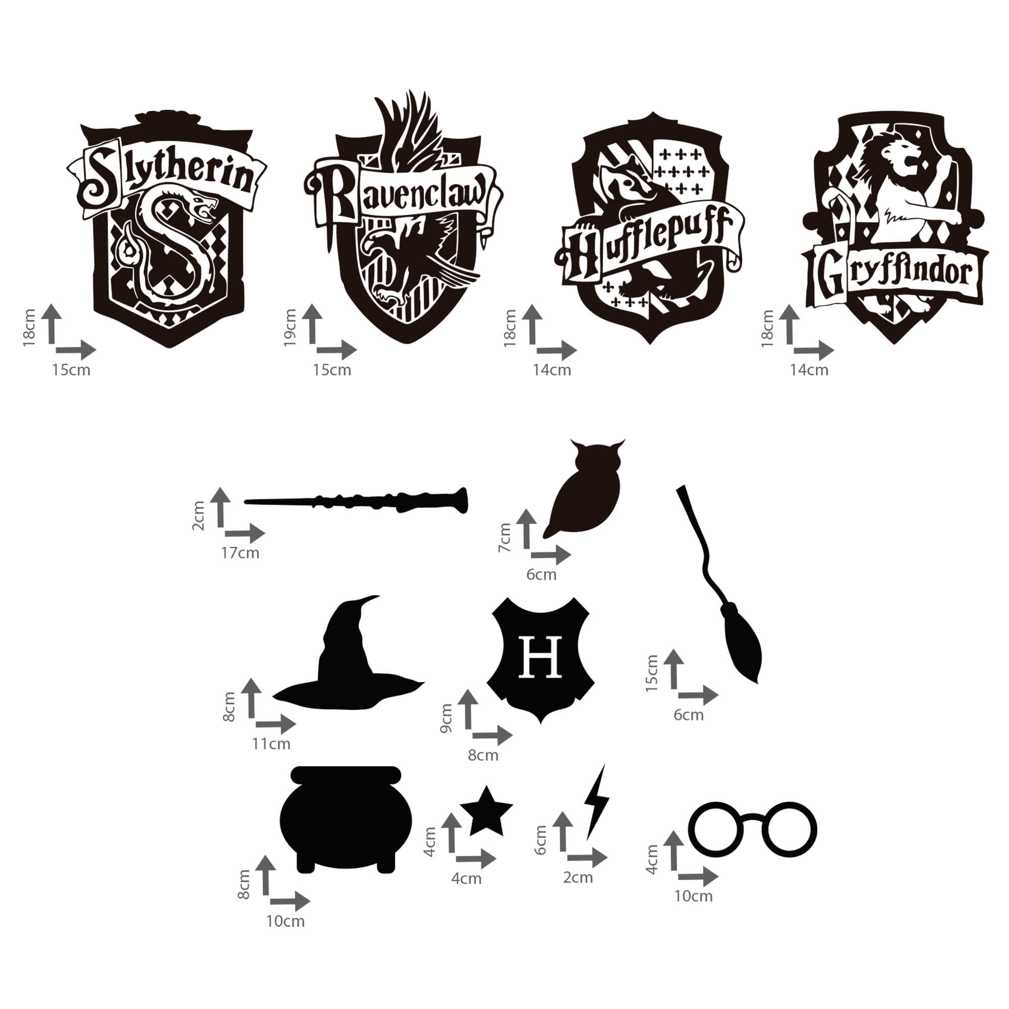 Kit de Adesivos Brasões Casas Harry Potter Grifinória Lufa-Lufa Sonserina Corvinal Elementos Hogawarts