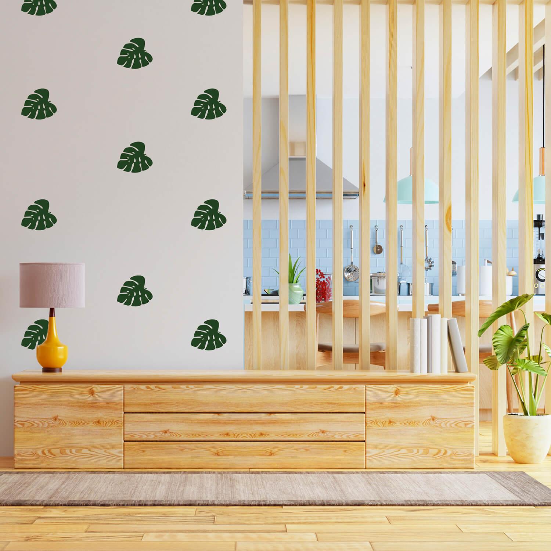 Kit de Adesivos Folhas Costela de Adão Plantas Tropicais Decoração Sala