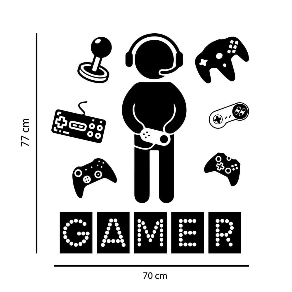 Kit de Adesivos Gamer Mundo Adolescente Elementos Internet Quarto Vídeo Game