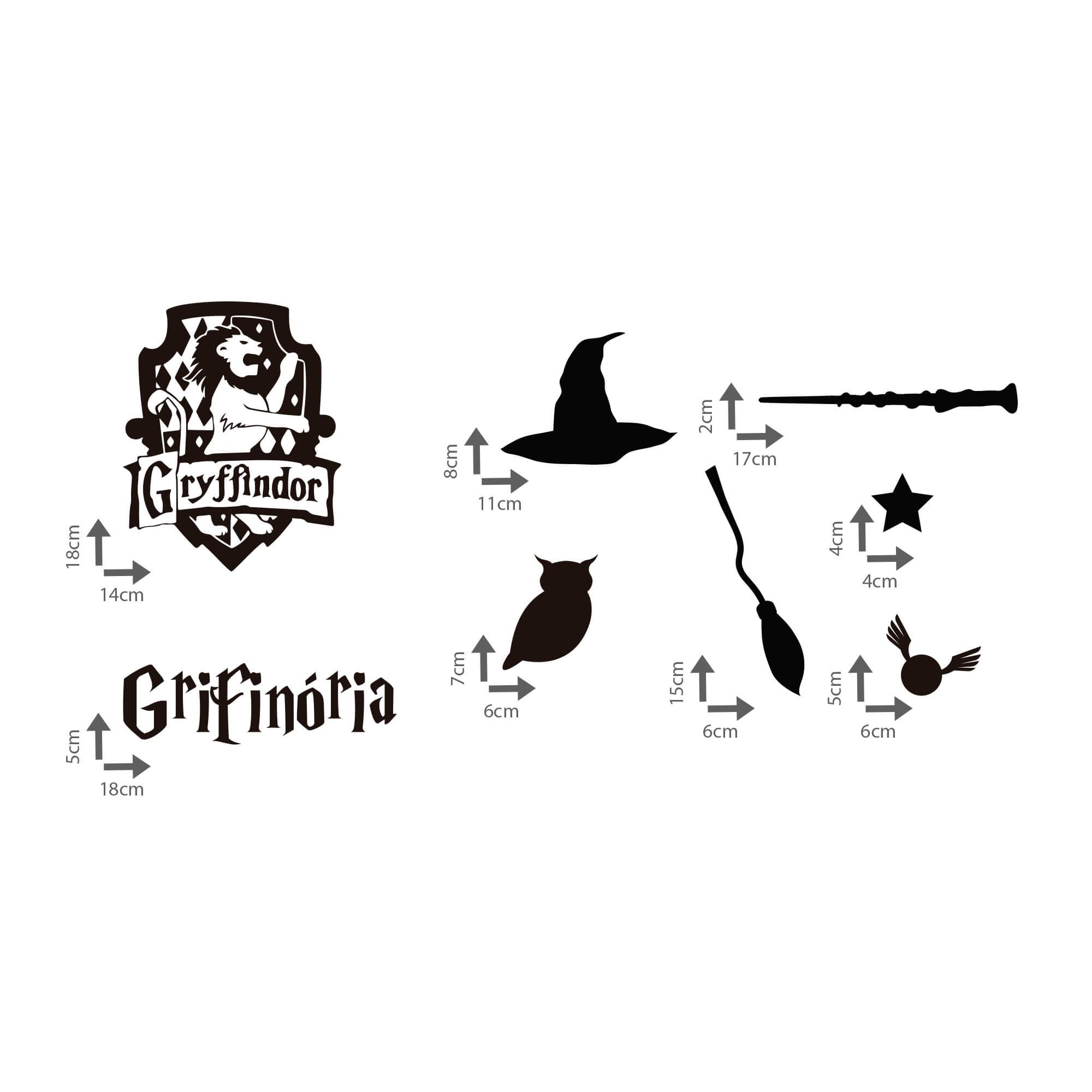 Kit de Adesivos Grifinória Elementos Harry Potter Hogawarts