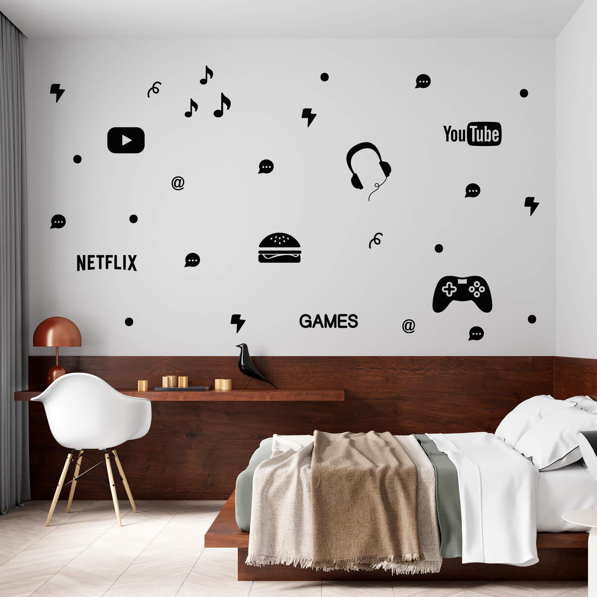 Kit de Adesivos Mundo Adolescente Gamer Elementos Internet