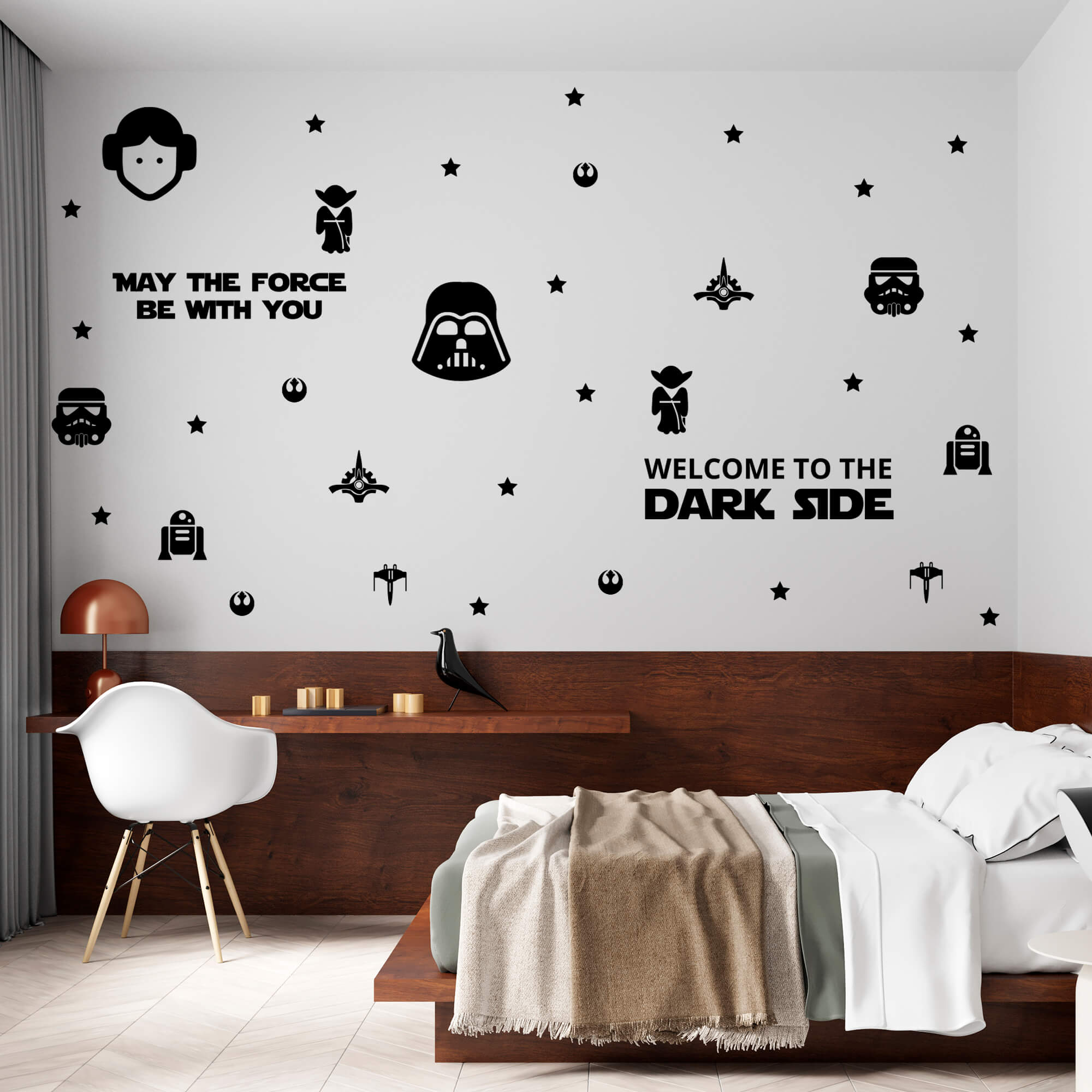 Kit de Adesivos Star Wars Welcome To The Dark Side Geek Porta Parede