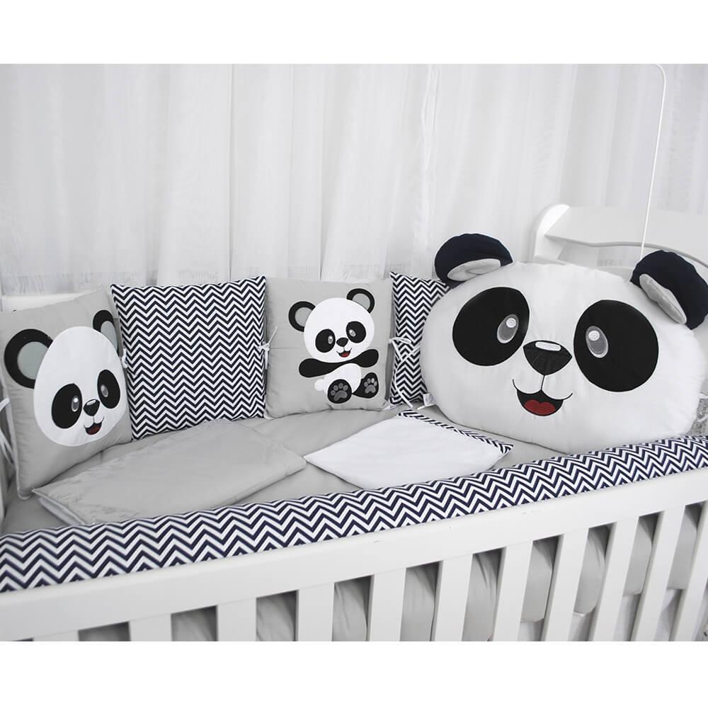 Kit De Berço Urso Panda Chevron