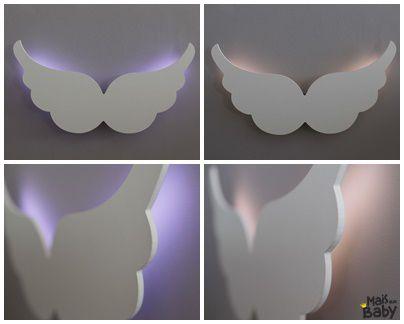 Luminária Asa de Anjo MDF com LED Quarto Bebê