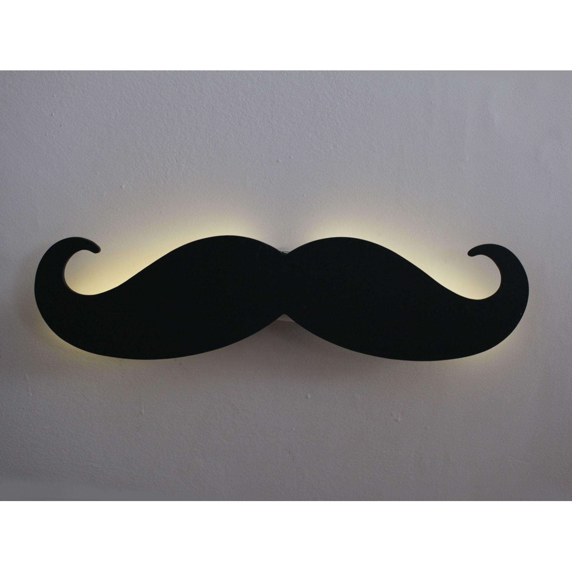 Luminária Bigode LED Decoração Barbearia Preto