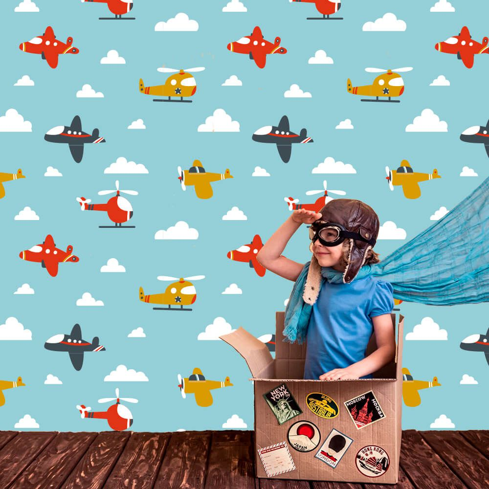 Papel de Parede Adesivo Aviões Céu Azul Quarto Menino