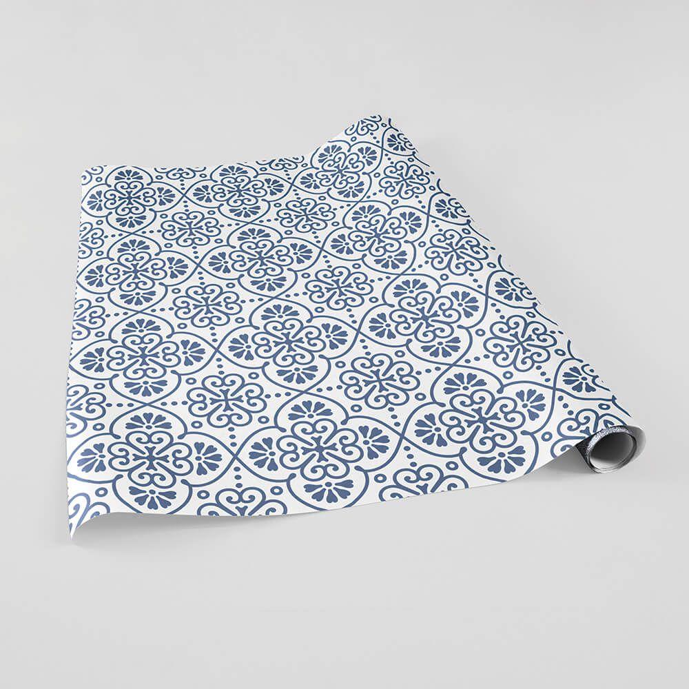 Papel de Parede Adesivo Azulejo Português Azul