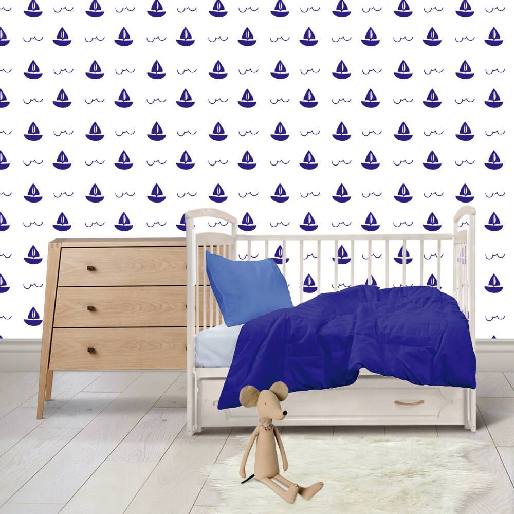 Papel de Parede Adesivo Barquinhos Azul Kanto Store