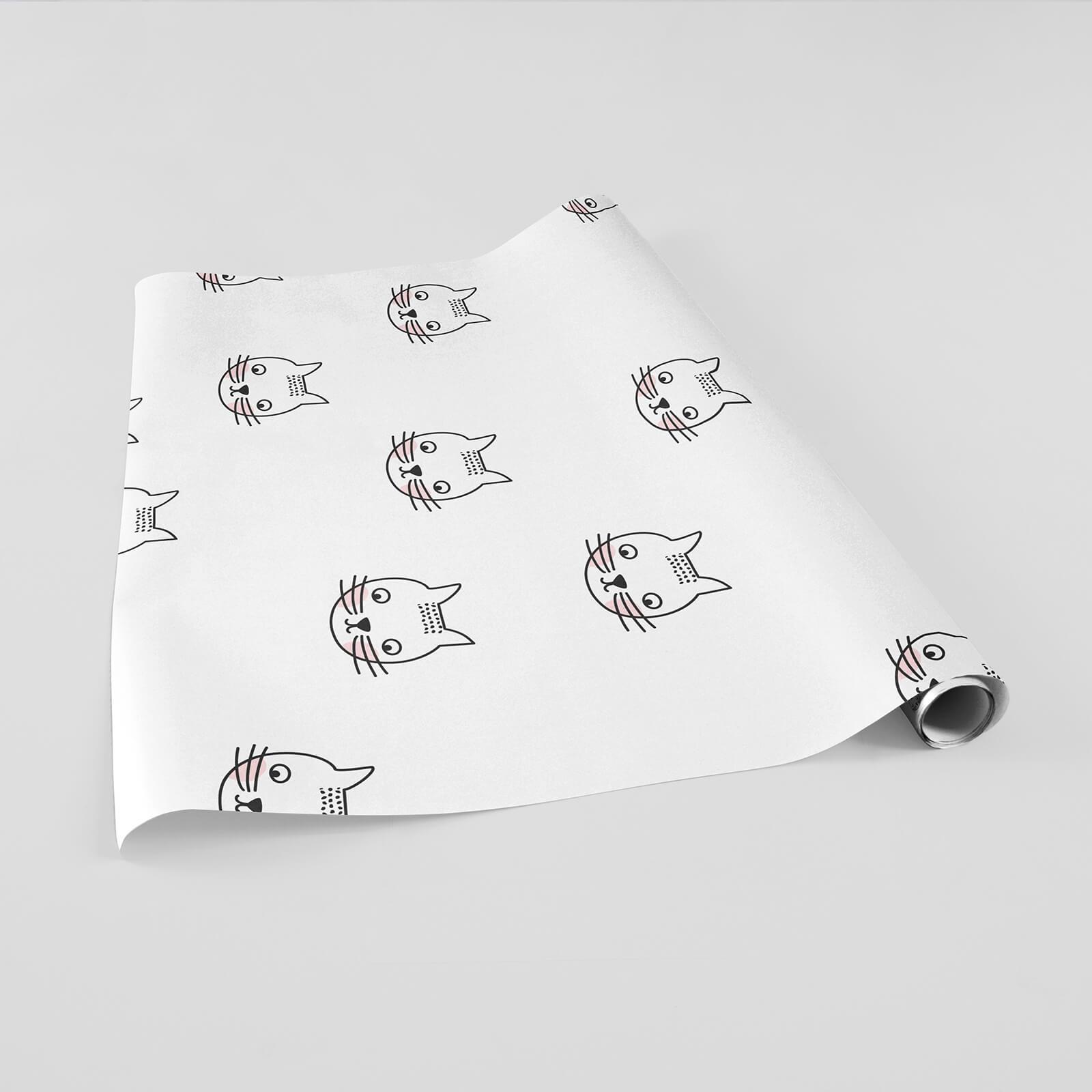 Papel de Parede Adesivo Gatinhos Preto e Branco
