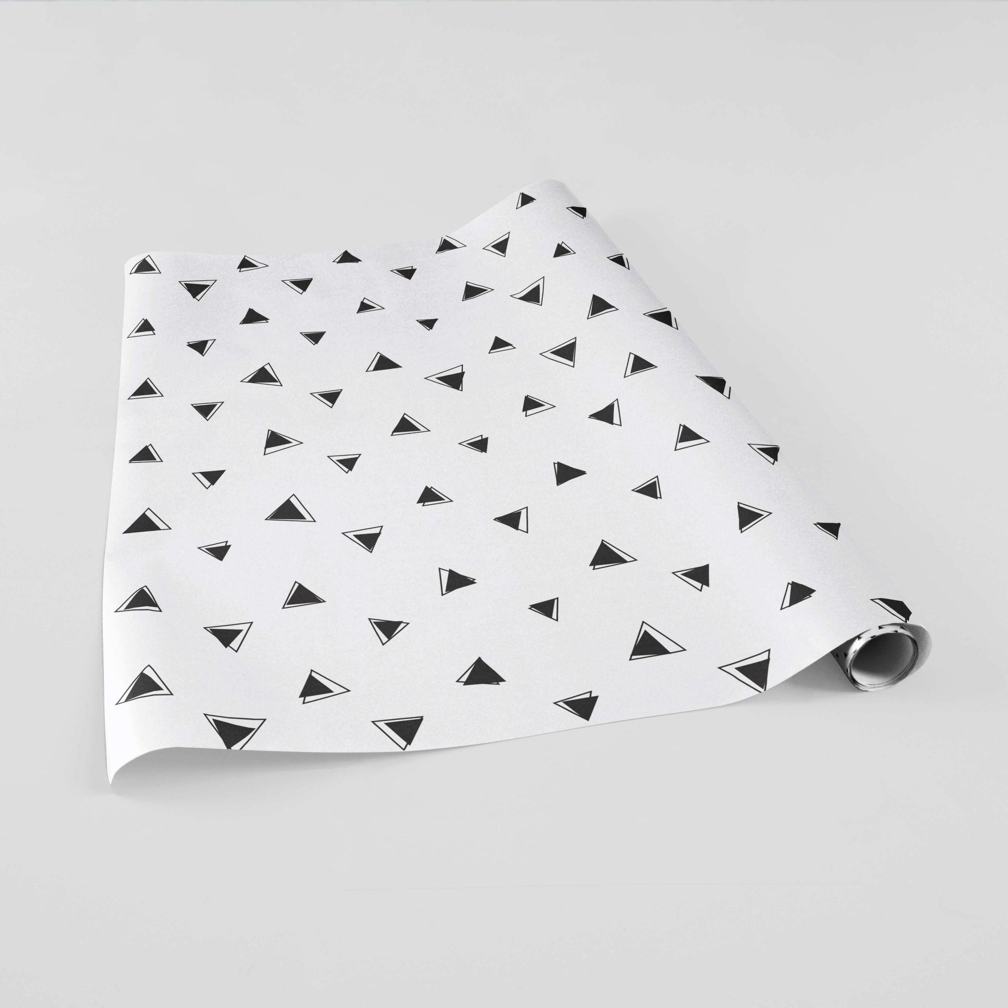 Papel de Parede Adesivo Triângulos Divertidos Preto e Branco