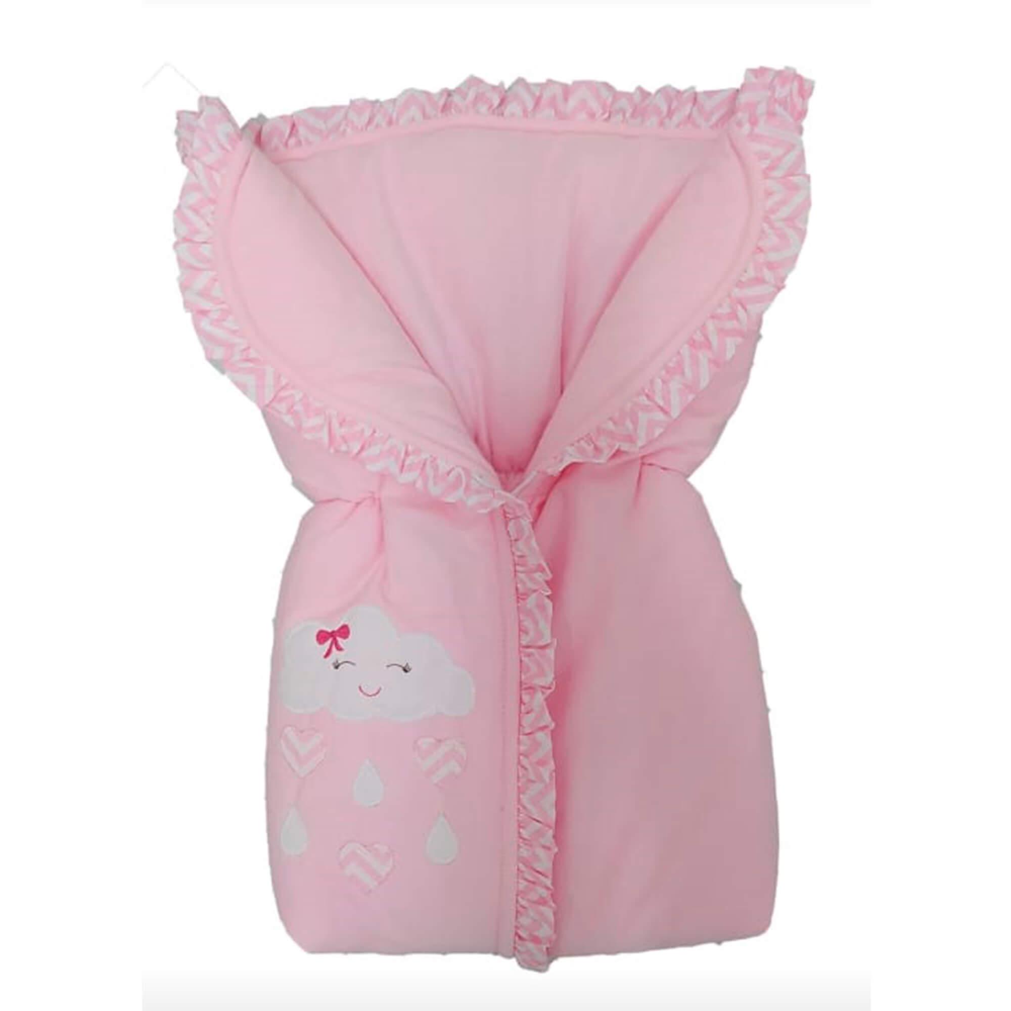 Porta Bebê Saco De Dormir Flanela Chuva de Amor