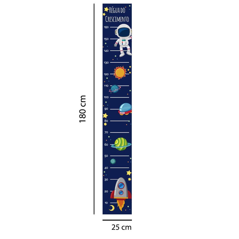 Régua Adesivo de Crescimento Espaço Sideral Foguete Astronauta Quarto Menino