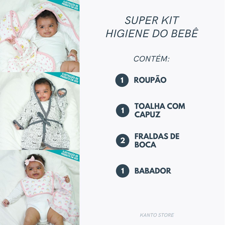 Super Kit Higiene do Bebê Toalha de Banho Fralda Com Capuz + Babador + Roupão + Fraldas de Boca
