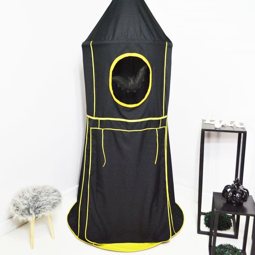 Tenda Cabaninha de Teto Infantil Morcego Preto e Amarelo com Tapete Embutido