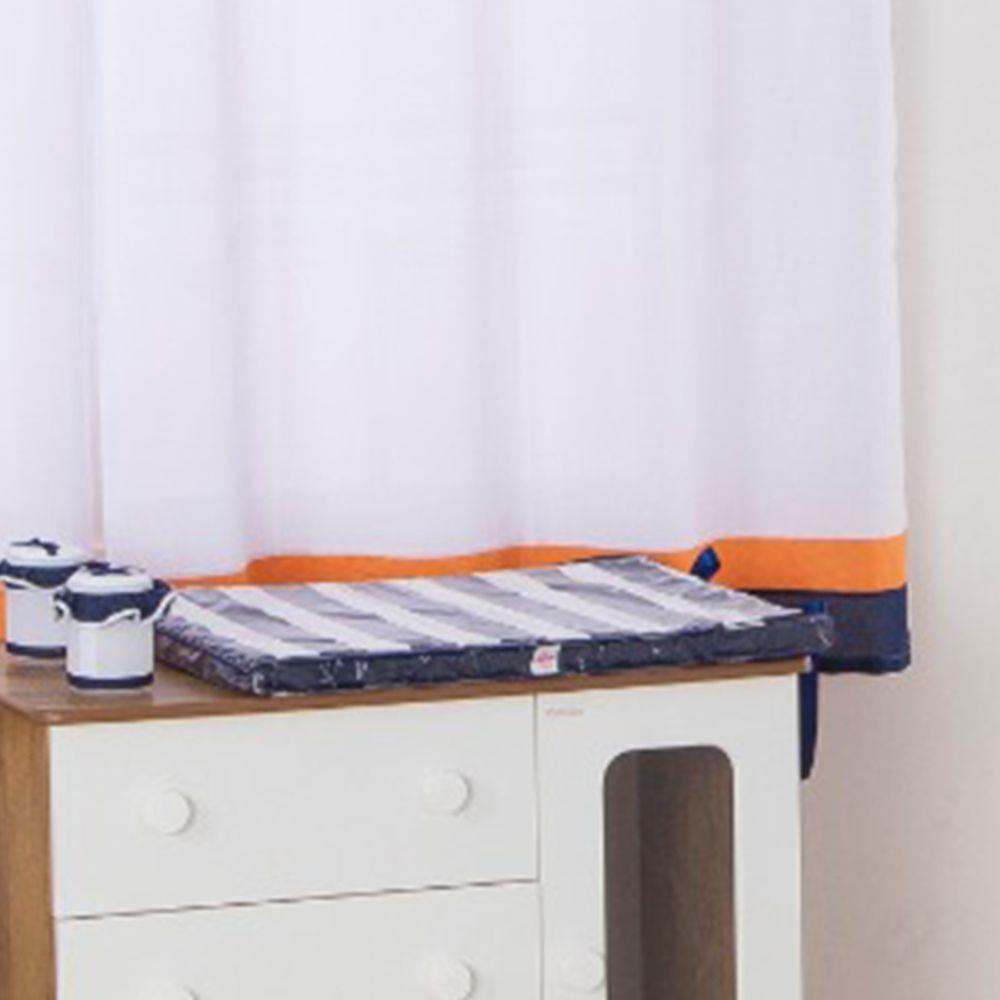 Trocador De Cômoda Para Bebê Menino Azul Listrado