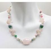 Colar e pulseira gotas quartzo rosa