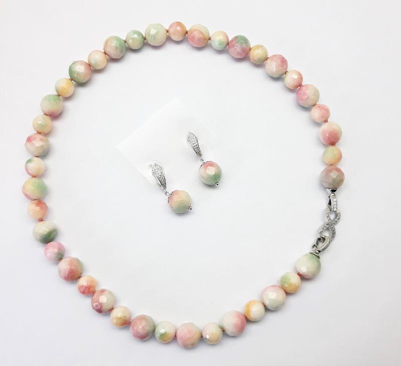 Colar e brincos Jade melancia  10 e 12 mm - Folheado Ródio