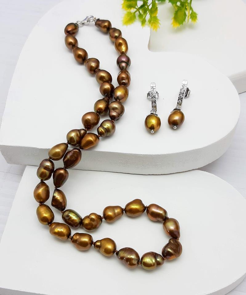 Colar e brincos pérolas naturais  Akoya fecho prata 950
