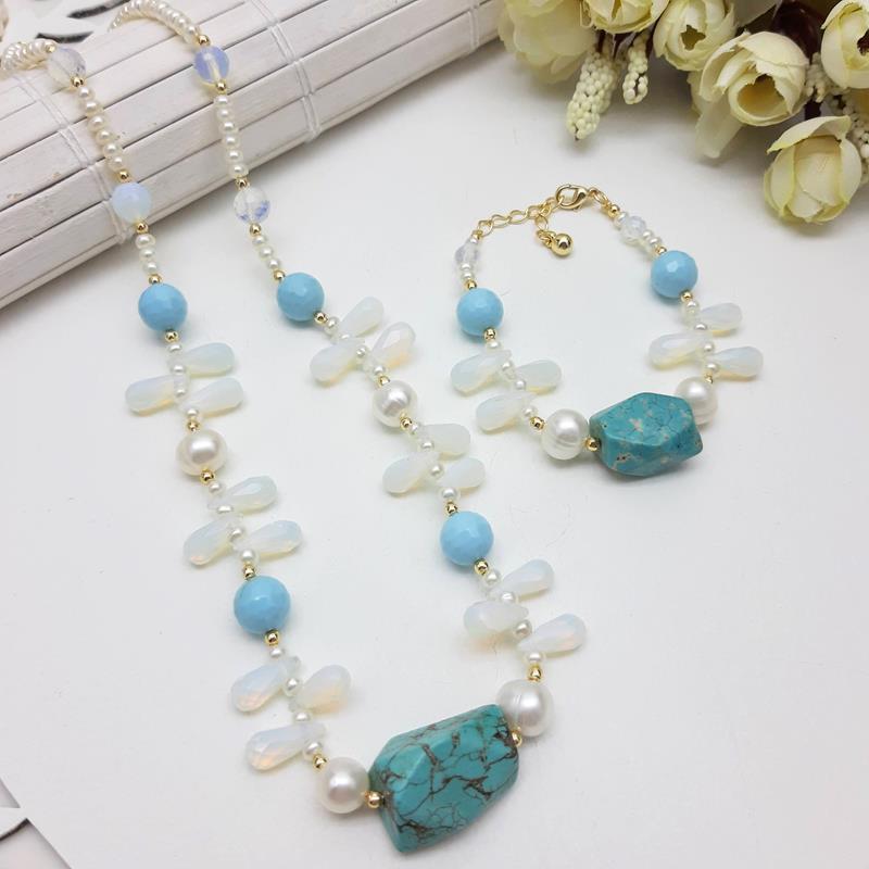 Colar e pulseira pedra  Opalina