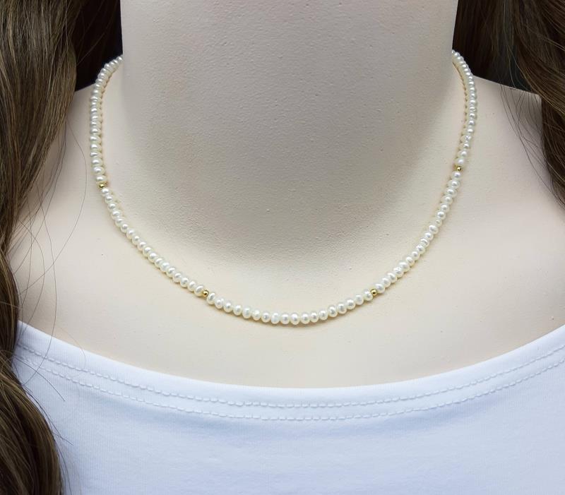 Colar e pulseira Pérolas naturais Biwa com ouro 18 k.