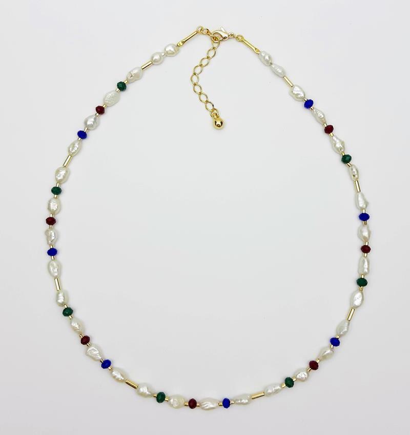 Colar pérolas naturais  e cristais estilo  indiano