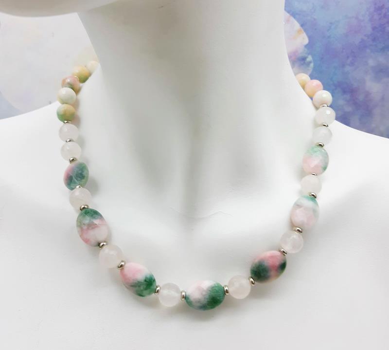 Colar jade melancia e quartzo rosa