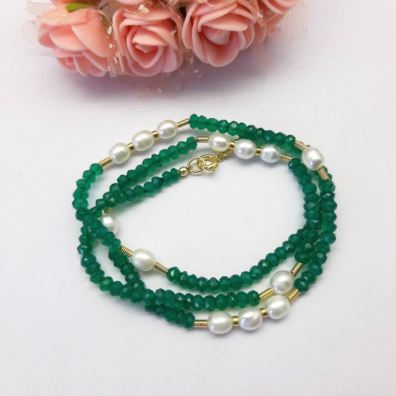 Colar jade verde e pérolas