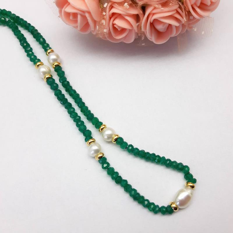 Colar Jade verde e pérolas naturais