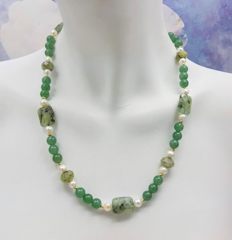 Colar jade verde estilo indiano