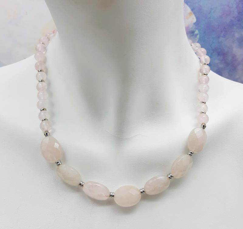 Colar quartzo rosa -   47 cm