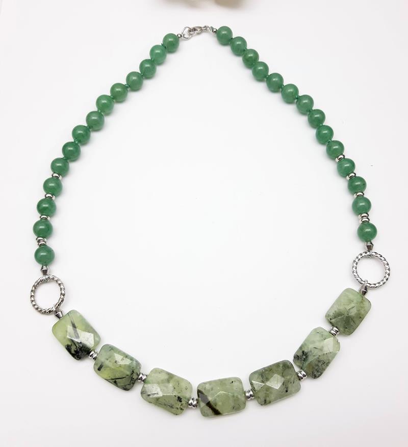 Colar quartzo verde rutilado