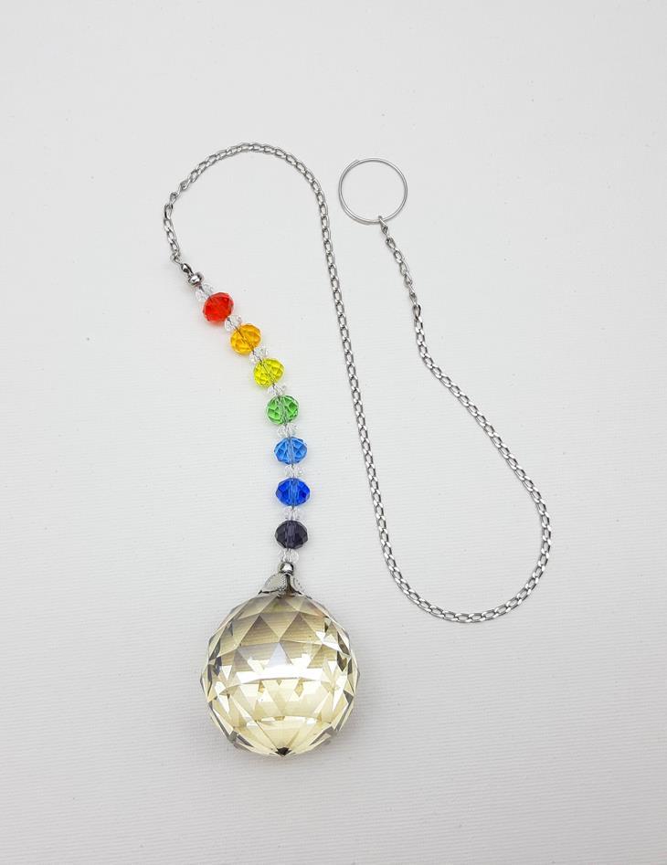 Suncatcher - Prisma / Pêndulo Esfera Cristal fumê  40 mm