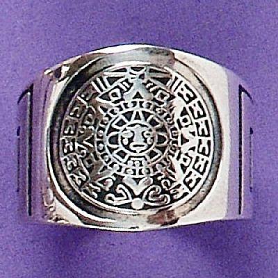 Anel de Calendário Asteca - 1386  - Magia das Joias