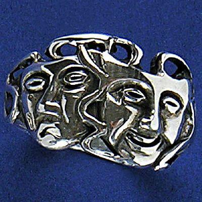 Anel de Máscaras de Teatro - 15241  - Magia das Joias