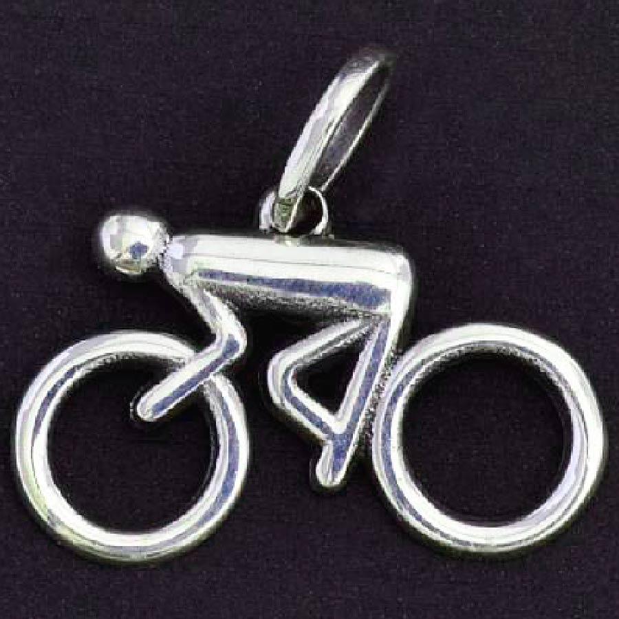 Pingente de Bicicleta Ciclista Homem - 95877  - Magia das Joias