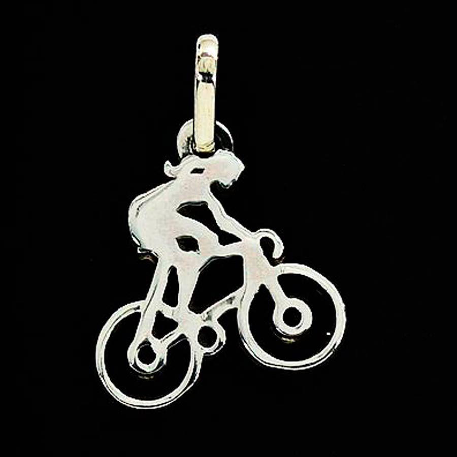 Pingente de Bicicleta Ciclista Mulher Pequena - 96163  - Magia das Joias