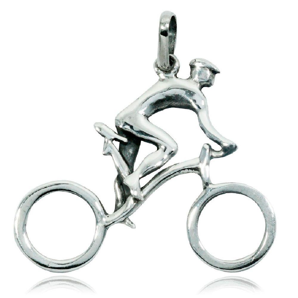 Pingente de Bicicleta Ciclista Passeio - 95904  - Magia das Joias