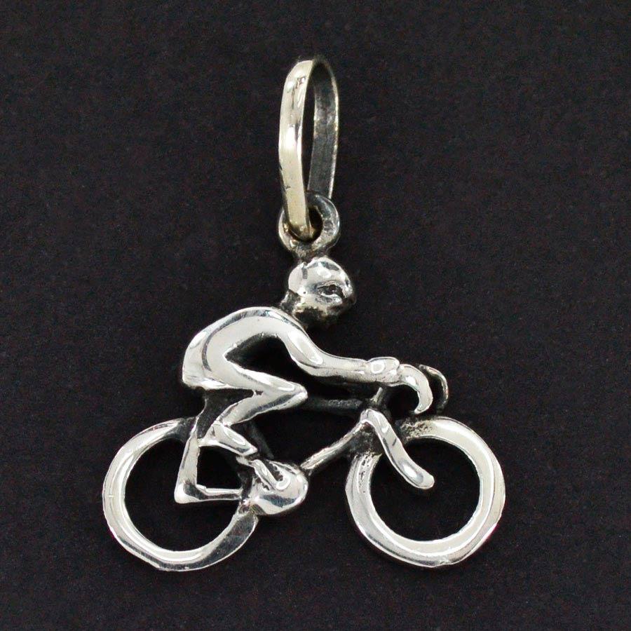 Pingente de Ciclista Bicicleta Pq - 9698  - Magia das Joias