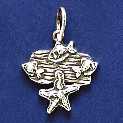 Pingente de Estrela-do-Mar e Peixes - 33232  - Arte Ativa