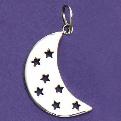 Pingente de Lua com Estrelas - 33143  - Magia das Joias