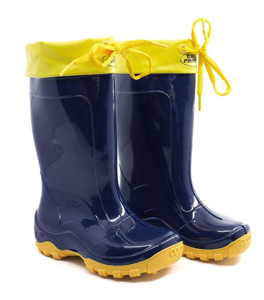 0f54a6f654f Bota Infantil Impermeável Azul Amarela Galocha C  Amarra Pvc - Arkuero