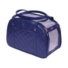 Bolsa Woof Classic Matelassê Azul Marinho para Transporte Pet