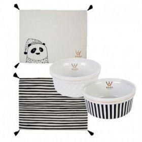 Kit Panda Listra Branco e Preto Woof Classic