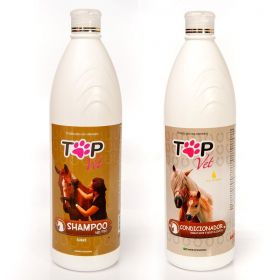Kit Shampoo Neutro + Condicionador Top Vet Hidratante para Cavalos