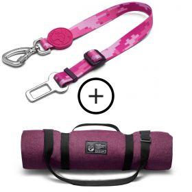 Kit Viagem de Carro com o Dog: Cinto de Segurança + Colchonete Rosa