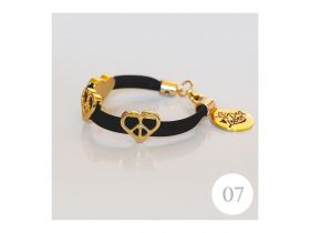 Pulseira Black Heart Dog Lover 19cm
